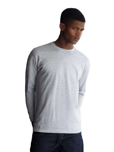 Fruit Of The Loom T-shirt à manches longues et encolure ronde pour homme - Gris - Taille Unique