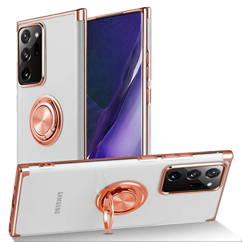 KANGHAR Samsung Galaxy Note 20 Ultra 5G Case Plating Clear 360 Rotation Magnetic Ring Kickstand Holder Soft Slim Electroplated Edges Shockproof Bumper Protective Cover 6.9 Inch-Rose Gold