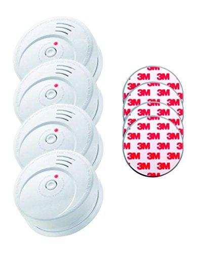 Jeising 4-er Set Rauchwarmelder mit 10 Jahres Lithium Batterie Kriwan Testzentrum Zertifiziert EN14604 inklusiv Magnetbefestigung Magnetopad, weiß, 4/GS506Gpad
