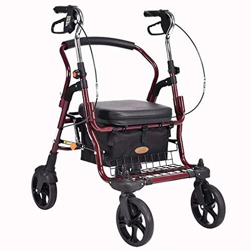 Z-SEAT Andador con Ruedas para Trabajo Pesado con Asiento y 4 Ruedas, Andador con Asiento Grande para Personas Mayores, Ruedas de 8 Pulgadas, Canasta y Frenos