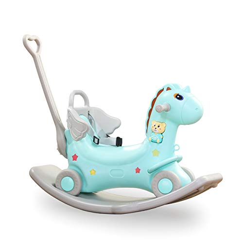 Baby Vivo 2in1 Schaukelpferd Schaukeleinhorn mit Rutschauto Rutscher Schaukeltier Mädchen und Jungen Schaukelstuhl - Türkis
