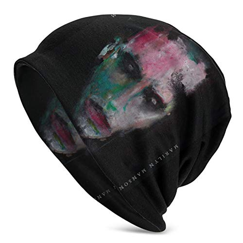 Marilyn Manson Adult Unisex Knit Hat Casual Baggy Cap Hedging Head Hat Beanie Hat Outdoor Autumn and Winter Warm Hats Black