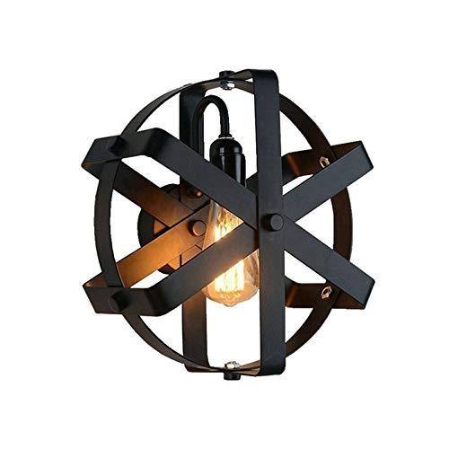 YXLMAONY Lámpara de pared retro de metal redondo, lámpara de iluminación de escalera de corredor, lámpara de pared de noche de dormitorio, cuerpo de lámpara de hierro pintado, soporte de lámpara E27 a