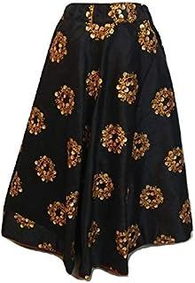 SNEH Women's Silk Embroidery Heavy Work Skirt (Black,Free Size)