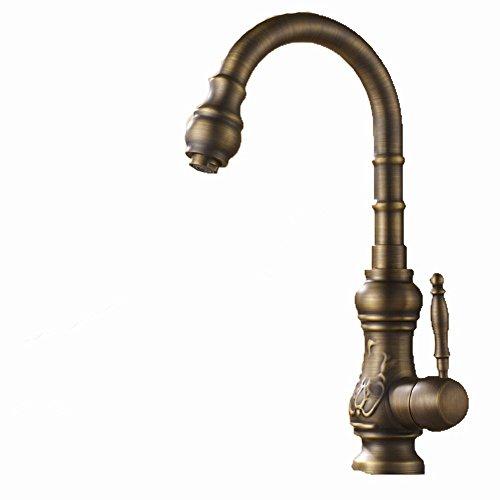 ZHGI Antiquariato europeo intagliato in rame antico rubinetto rubinetto di cucina cucina rubinetto rubinetto di lavello