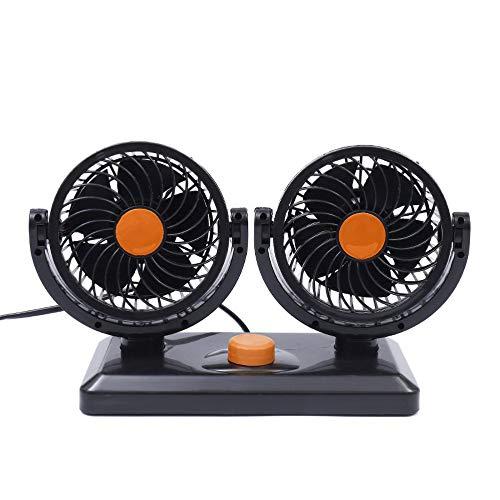 LeftSuper Ventilador de Aire de refrigeración automática de Doble Cabezal de Ajuste Libre Giratorio 360, Ventilador de ventilación del salpicadero de refrigeración del Coche, circulador de Aire