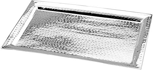 James Scott Stainless Steel Serving Tray 11 by 16 inch Tray Hammered 11X16