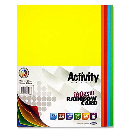 Premier Stationery A4 160 gsm Activity Card - Rainbow (Pack of 50 Sheets)