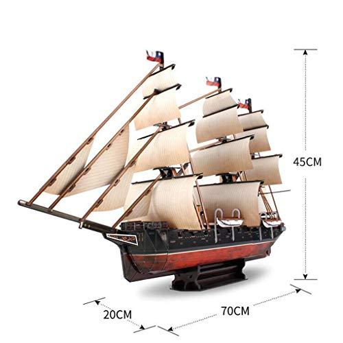 GEEFSU-Modello di Nave Ornamento di Natale Battaglia Navale Esmeralda Scialuppa di Salvataggio Rimovibile Puzzle 3D Blocchi Fatti a Mano di Giocattoli per Bambini