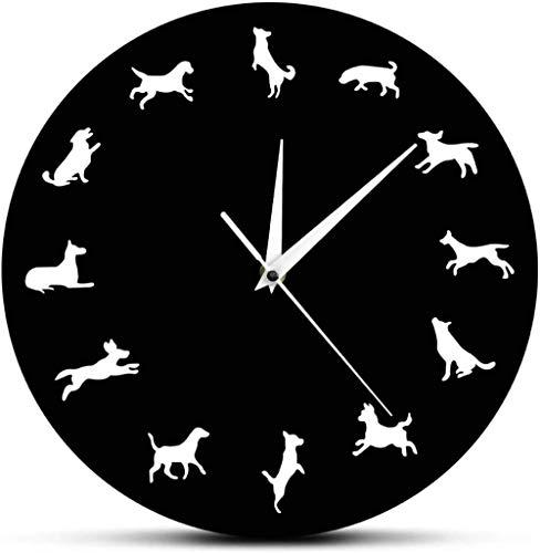 Moderno perro mascota Reloj de pared icónico 12 silueta de perro cachorros Reloj silencioso Pug Arte de pared moderno Decoración infantil Idea de regalo para amante de los perros Adecuado para