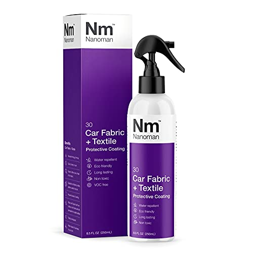 Nanoman Nano-Technology Car Fabric & Upholstery Care (250ML) Hydrophobic Waterproof Protector and Stain Guard for Auto Interior Fabrics, Seats, Carpets and Floor Mats.