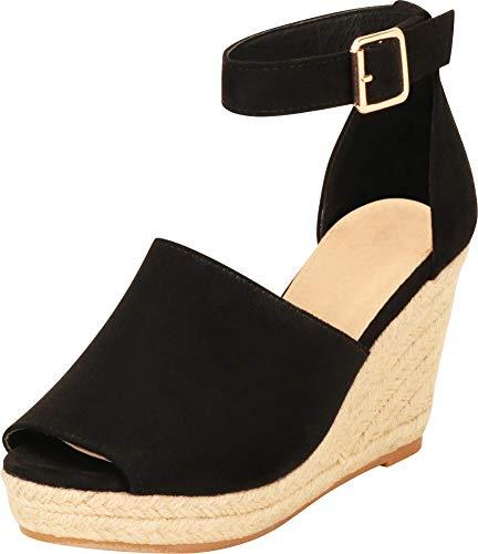 Cambridge Select Damen Fußgelenkgurt, 70er-Jahre, mit offenem Zehenbereich, Espadrille, Schwarz (Schwarz IMSU), 35.5 EU