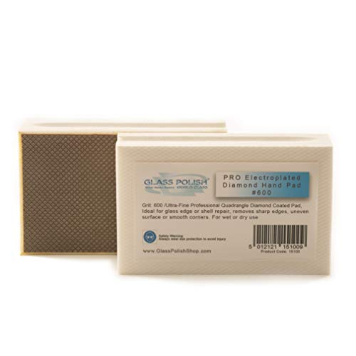 GLASS POLISH 15100 | Diamond Hand Pad, Blocco di levigatura manuale per smerigliatura, lucidatura, spigoli vivi | Grana 600