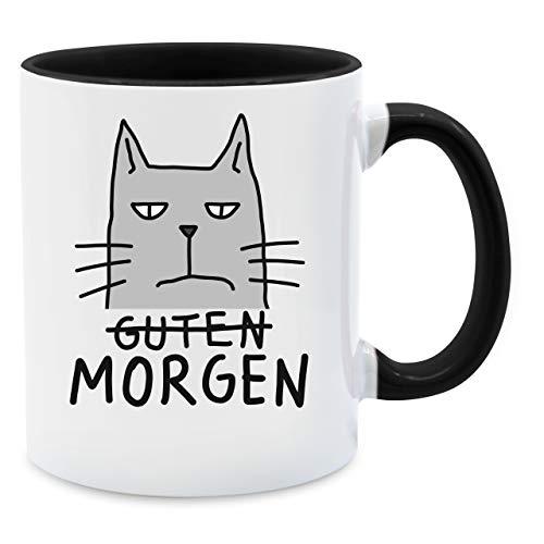 Shirtracer Tasse mit Spruch - Guten Morgen Katze - Unisize - Schwarz - Morgen Tasse Katze - Q9061 - Tasse für Kaffee oder Tee