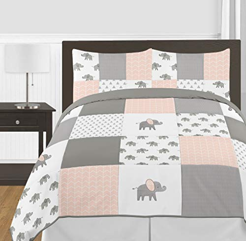 Sweet Jojo Designs Blush Pink, Grey and White Watercolor Elephant Safari Girl Full/Queen Kid Childrens Bedding Comforter Set - 3 Pieces