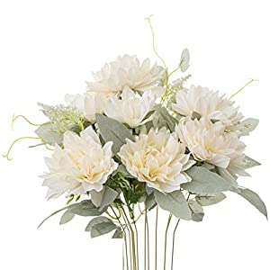 Yongyue Springs Flowers Artificial Silk Dahlia Bouquets Wedding Home Decoration (Spring White)