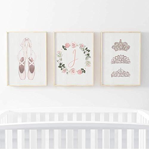 Pom Pom Prints® Lot de 3 cadres photo pour chambre d'enfant Motif ballerine Format A4