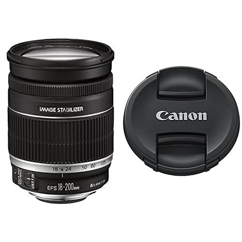 Canon EF 18-200Mm F/3.5-5.6 Is - Objetivo para Negro + E-72 II - Tapa De Objetivo para Objetivo EF Y EF-S con Diámetro De 72 Mm, Negro