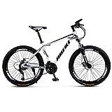 LILIS Bicicleta Montaña Bicicleta de montaña de la Bici Adulta de los Hombres del Camino de MTB Bicicletas Luz for Las Mujeres de 26 Pulgadas Ruedas Ajustables Velocidad Doble Freno de Disco