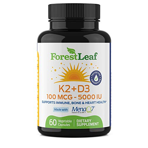 Vitamin D3 + K2 (MK7) Supplement - MenaQ7 - Calcium and Vitamin D3 5000 IU Max Absorption - Teeth and Bone Strength, Heart Health, Immune System Support - 60 Veggie Capsules – ForestLeaf
