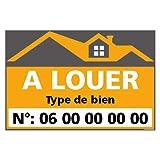 Panneau Immobilier Personnalisable à Louer avec Oeillets aux 4 Coins - Orange - Plastique Rigide AKILUX 3,5mm - Dimensions 600x400 mm - Protection Anti-UV