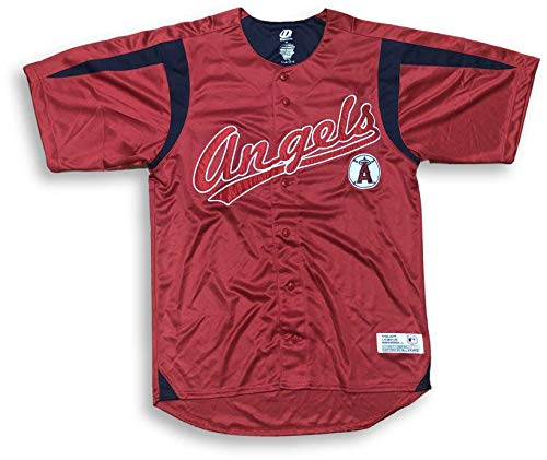 DYNASTY MLB Button Down Embroidered Adult Men's Jersey Many Teams (X-Large, Angels)