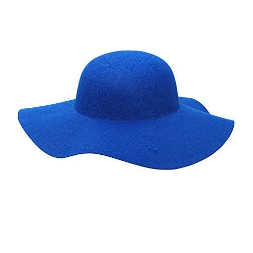 Widmann 68582 - Filz-Hut Floppy, Einheitsgröße für Damen, blau, Hut 60er Jahre, breite Krempe, Kopfbedeckung, Karneval, Mottoparty