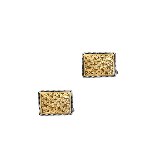 Photo of 18Kt Yellow Gold+Sterling Silver Rectangular Cuff Links. Phill Ip Gavriel