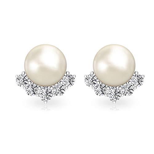 Pendientes de perlas de 4 ct, certificado IGI, declaración nupcial, boda, HI-SI, claridad de color, diamante, clúster, regalo para el día de San Valentín 18K Oro rosa, Par