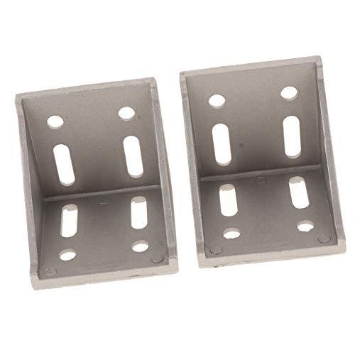 Almencla 2X Soporte de Esquina de Aluminio Conector de Esquina Conector de Ángulo para Estructura de Marco de Aluminio de Industria de Construcción - 8080 (un Poco más Grueso)