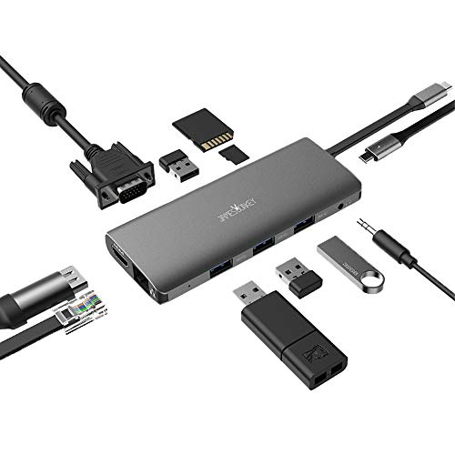 USB C Hub, Type C Hub, TOTU 11-in-1 Adapter with Ethernet, 4K USB C to HDMI, VGA,3 USB3.0/2.0,1USB2.0, Micro SD/TF Card Reader, Audio, USB-C Pd 3.0, Compatible for Mac Pro and Other Type C Laptop