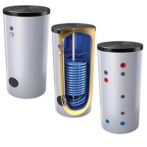 300 Liter emaillierter Hochleistungs-, Warmwasserspeicher/Trinkwasserspeicher/Wärmepumpenspeicher, EEK B, mit 1 doppelt gewickelten Wärmetauscher, inkl. Isolierung, Magnesiumanoden und Thermometer