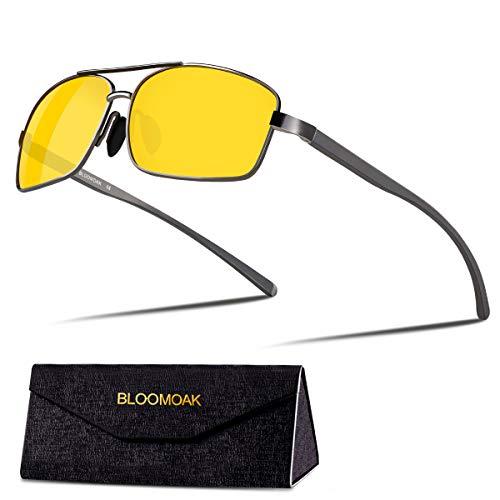 Bloomoak Nachtfahrbrille, Polarisierte Fahrbrille, Klassisches Al-Mg-Design, Polarisierte Linse, UV400-Schutz, Reduziert die Blendung von Entgegenkommenden Scheinwerfern