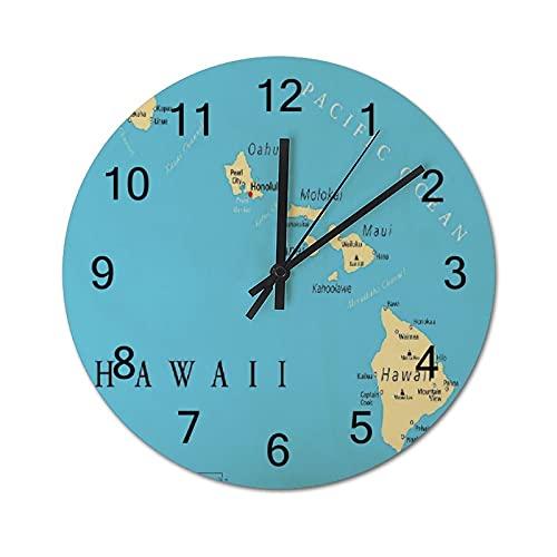 Reloj de Pared Vintage,Mapa de Las Islas de Hawái con,Relojes de Pared de Madera silenciosos Que no Hacen tictac,Reloj de Pared rústico de Granja para la decoración del Dormitorio de la Sala de Estar