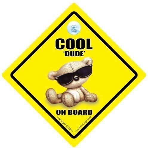 Cool Dude On Board, Cool Dude, nuances, Coole Dude On Board, panneau bébéà bord, nouveauté voiture Panneau, Baby on Board, panneau bébé, signes, pare-chocs pour voiture Panneau autocollant style, signes, pour voiture Baby on Board pour Voiture