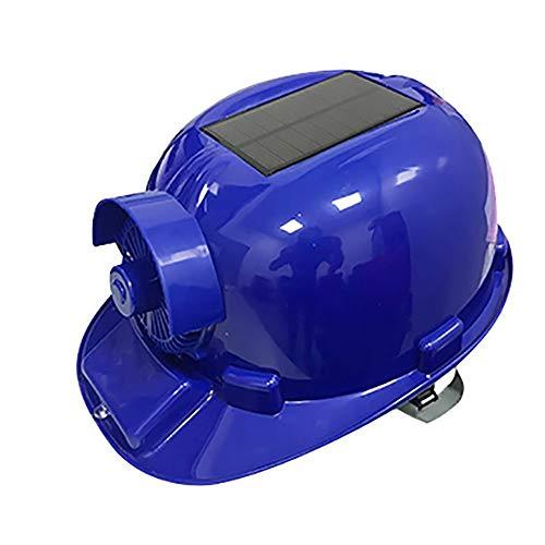Solar Fan Cap Bluetooth-Site-Schutzhelm Ventilation Kühlung Regenschutz UV-Schutz mit LED-Beleuchtung 2 Stromversorgung Methods,Blau