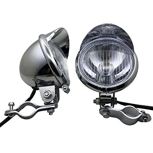 Faro de la luz de la luz del Paso de la Motocicleta del Cromo Universal con la Abrazadera del Soporte del Soporte del Soporte del Tubo de la Barra de la Barra de la Jaula del Rollo (Color : A)