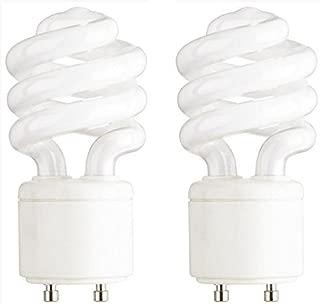 13-Watt Mini Compact Fluorescent Light Bulb GU24 Base Twist and Lock, Soft White - 2 Pack