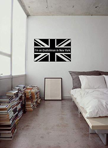 Special Design Modern Wall Decal citaat Ich bin ein England in New York Britse nationale vlag afneembare slaapkamer muursticker 57x94cm