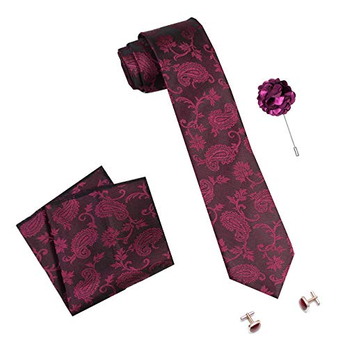 nu-Lite Men's Designed Micro Polyester Necktie Set with Pocket Square, Brooch Pin and Cufflinks (Free Size)