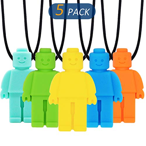 Sensory Chew Necklace for Kids, Boys or Girls (5 Pack) - Sensory Oral Motor Aids Teether Toys for Autism, ADHD, Baby Nursing or Special Needs- Reduces Chewing Biting Fidgeting for Kids Adult Chewers
