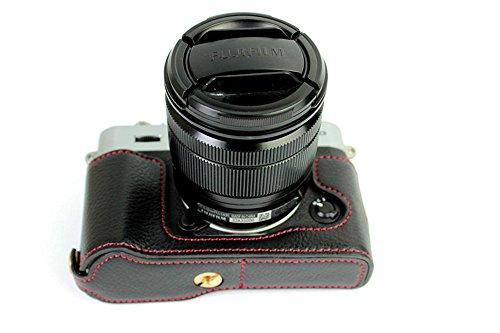 Zakao X-T10 - Funda de piel para cámara Fujifilm Fuji X-T10 XT10 (apertura media inferior, con correa de mano)