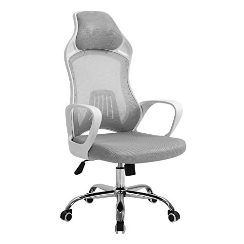 Seatingplus High Back Gray Mesh Computer Chair with White armrests, Ergonomic Swivel Office Chair with Lumbar Support and Adjustable Height
