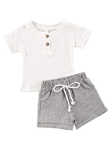 Baby Boys Short Sleeve T-Shirt Tops Elastic Waistband Shorts Set Toddler2Pcs Summer Outfits Clothes (Linen White + Strips, 6-12M)