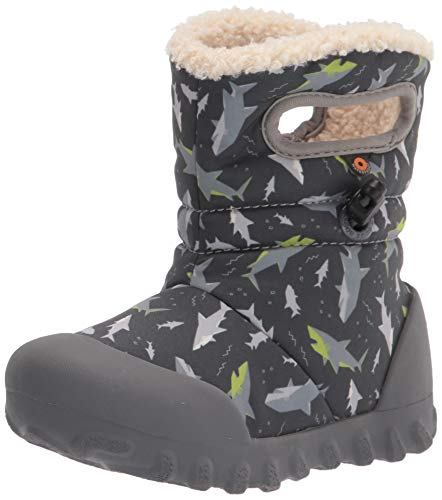 BOGS unisex child B-moc Snow Rain Boot, Sharks-dark Gray, 8 Infant US