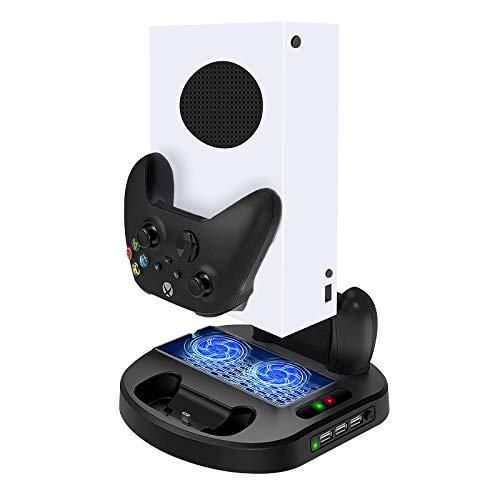 Soporte Vertical y Ventilador de Refrigeración, Estación de Carga y 3 USB Hub para Xbox Series S Consola & Xbox S Controlador