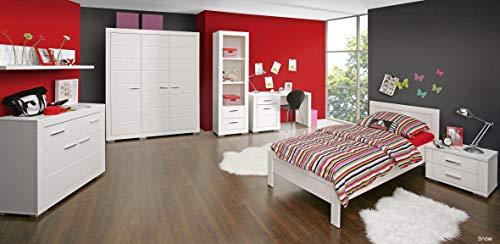 möbel-direkt Jugendzimmer Snow in Weiß 7 teiliges Megaset mit Kleiderschrank, Bett und Nachttisch, Schreibtisch, Sideboard und Regalen