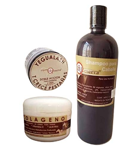 Yeguada La Reserva Bundle Shampoo Yeguada/Colageno 250 Gr. / Yegualash Eyelash Serum Growth Stimulator 3 in 1 Kit By Alebrije Imports.
