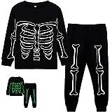 Toddler Boys Skeleton PJs Snug Fit Cotton Halloween Pajamas Set Kids Glow in the Dark Sleepwear, 7T