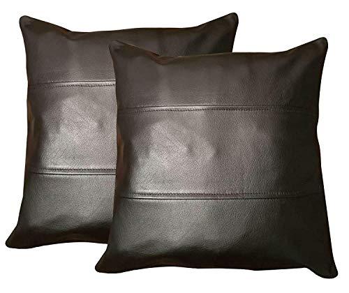 Charlie LONDON 2 federe per cuscini per divano in vera pelle nera 100%